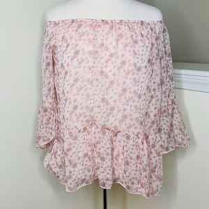 🎉5 for $25🎉 Floral Silk Off the Shoulder Top
